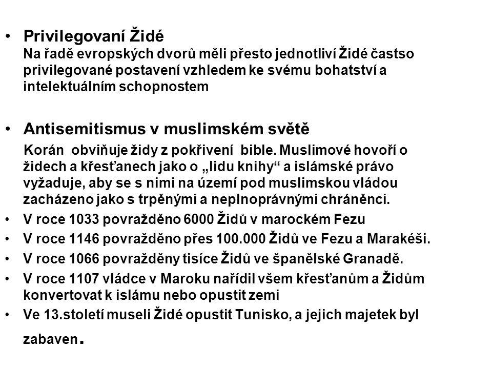 Privilegovaní Židé Na řadě evropských dvorů měli přesto jednotliví Židé častso privilegované postavení vzhledem ke svému bohatství a intelektuálním sc