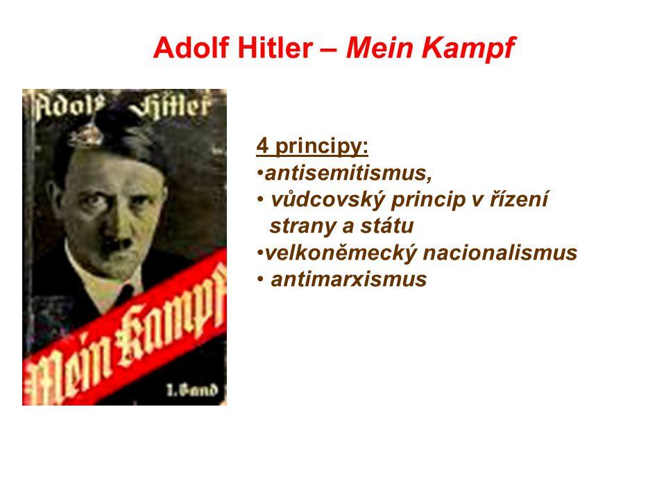Adolf Hitler – Mein Kampf 4 principy: antisemitismus, vůdcovský princip v řízení strany a státu velkoněmecký nacionalismus antimarxismus