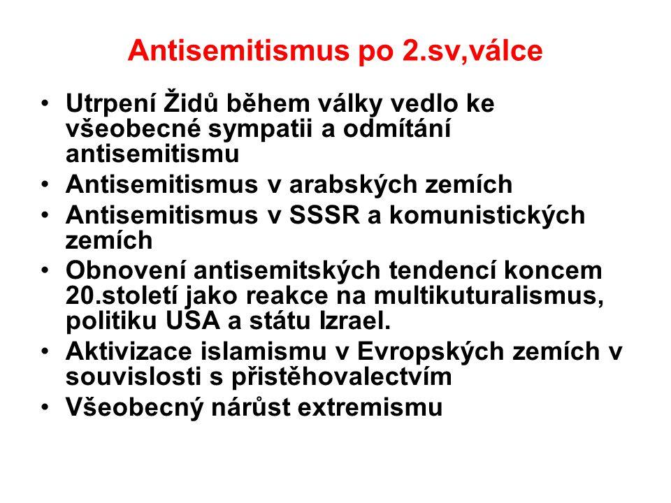 Antisemitismus po 2.sv,válce Utrpení Židů během války vedlo ke všeobecné sympatii a odmítání antisemitismu Antisemitismus v arabských zemích Antisemit
