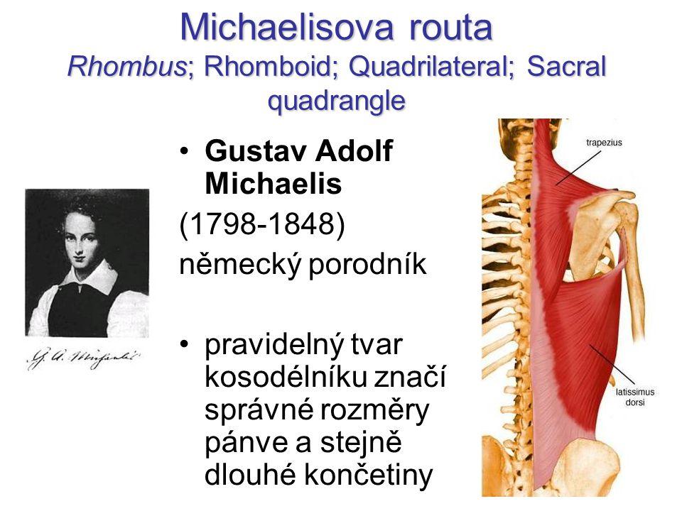 Michaelisova routa Rhombus; Rhomboid; Quadrilateral; Sacral quadrangle Gustav Adolf Michaelis (1798-1848) německý porodník pravidelný tvar kosodélníku značí správné rozměry pánve a stejně dlouhé končetiny