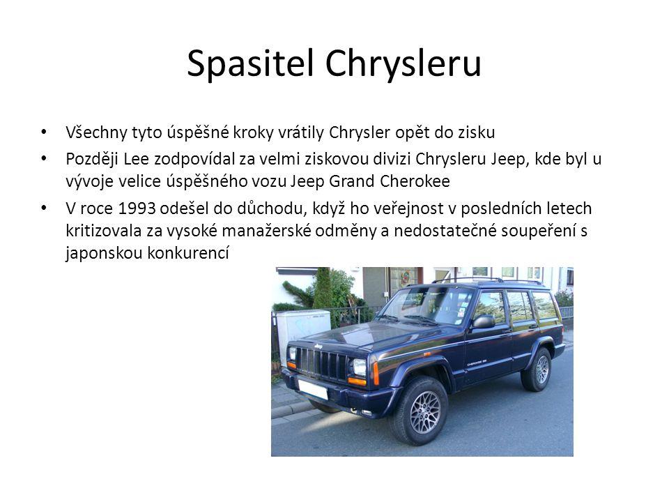 Spasitel Chrysleru Všechny tyto úspěšné kroky vrátily Chrysler opět do zisku Později Lee zodpovídal za velmi ziskovou divizi Chrysleru Jeep, kde byl u vývoje velice úspěšného vozu Jeep Grand Cherokee V roce 1993 odešel do důchodu, když ho veřejnost v posledních letech kritizovala za vysoké manažerské odměny a nedostatečné soupeření s japonskou konkurencí