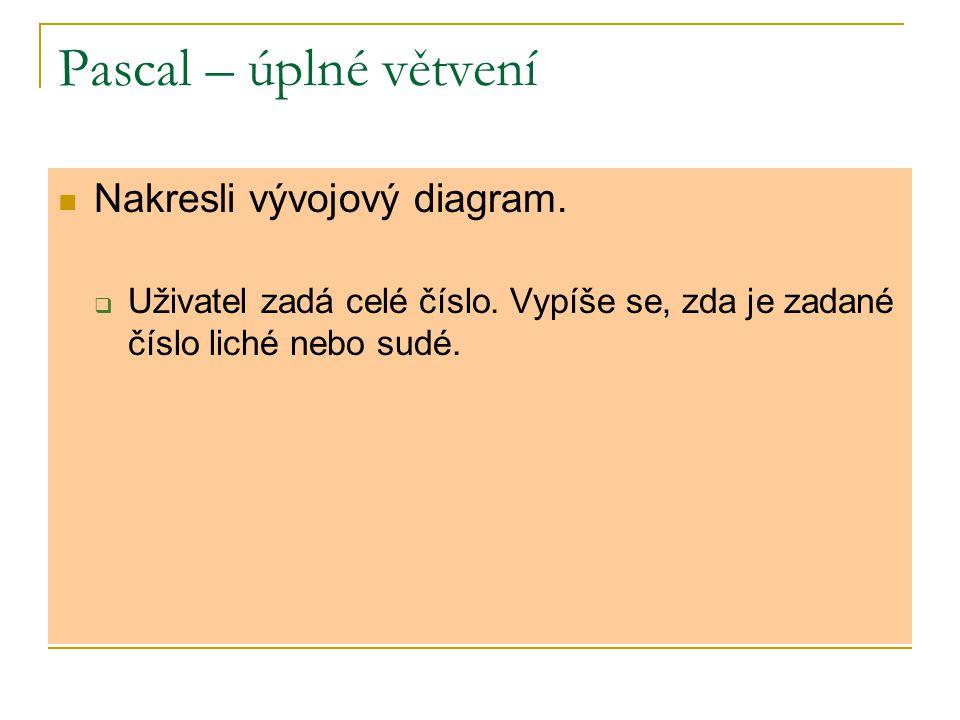 Pascal – úplné větvení Nakresli vývojový diagram.  Uživatel zadá celé číslo. Vypíše se, zda je zadané číslo liché nebo sudé.