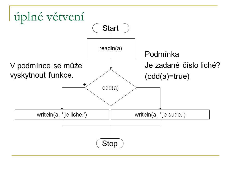 úplné větvení odd(a) writeln(a, ' je liche.')writeln(a, ' je sude.') +- readln(a) Start Stop Podmínka Je zadané číslo liché? (odd(a)=true) V podmínce