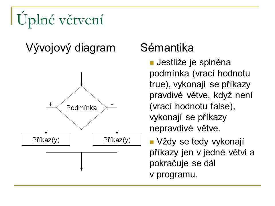 Úplné větvení Podmínka Příkaz(y) Vývojový diagram Jestliže je splněna podmínka (vrací hodnotu true), vykonají se příkazy pravdivé větve, když není (vr