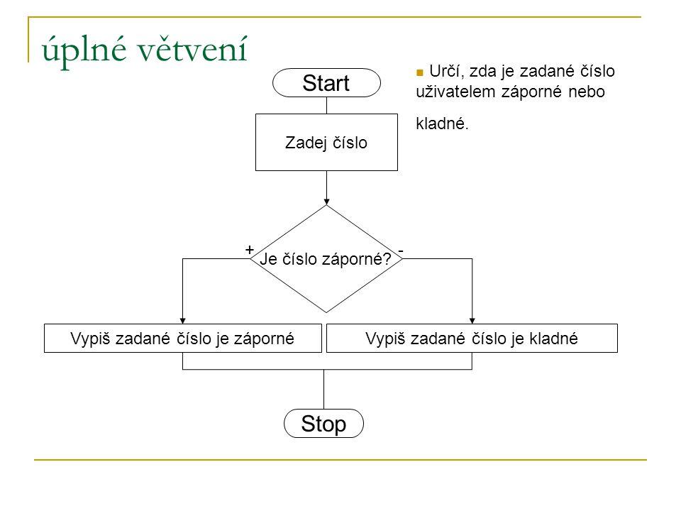 Úplné větvení Podmínka Příkaz(y) Vývojový diagram Jestliže je splněna podmínka (vrací hodnotu true), vykonají se příkazy pravdivé větve, když není (vrací hodnotu false), vykonají se příkazy nepravdivé větve.