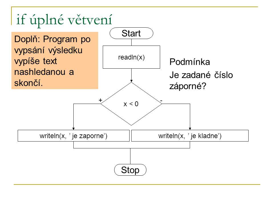 if úplné větvení x < 0 writeln(x, ' je zaporne')writeln(x, ' je kladne') +- readln(x) Start Stop Podmínka Je zadané číslo záporné? Doplň: Program po v
