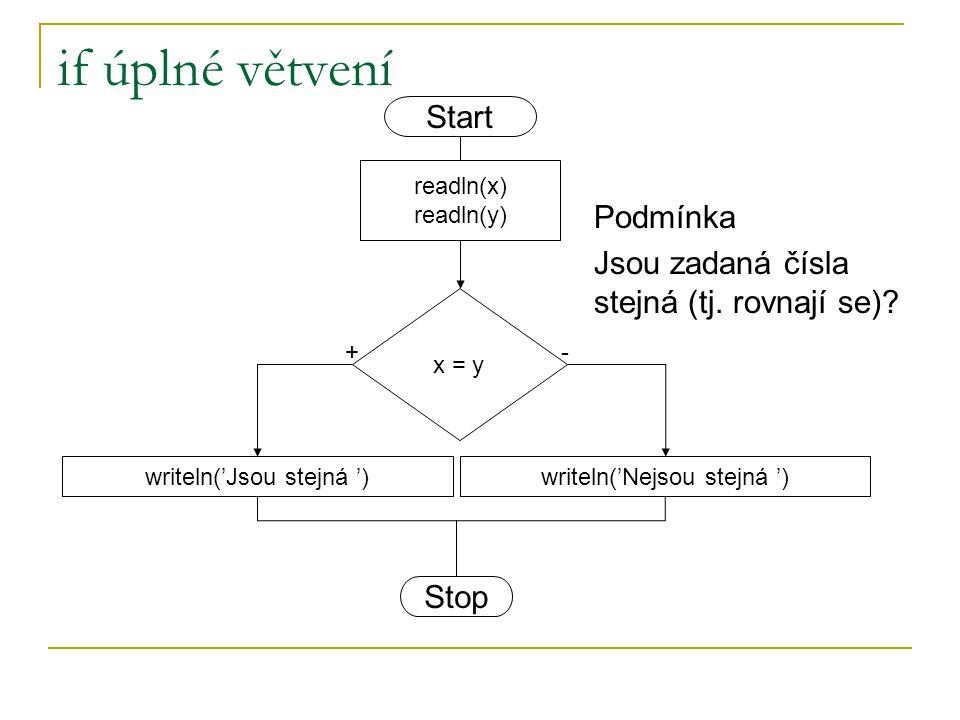 if úplné větvení x = y writeln('Jsou stejná ')writeln('Nejsou stejná ') +- readln(x) readln(y) Start Stop Podmínka Jsou zadaná čísla stejná (tj. rovna