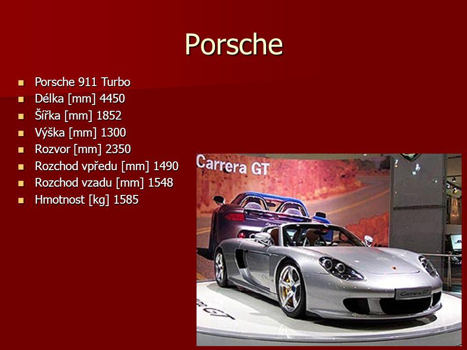 Porsche Porsche 911 Turbo Porsche 911 Turbo Délka [mm] 4450 Délka [mm] 4450 Šířka [mm] 1852 Šířka [mm] 1852 Výška [mm] 1300 Výška [mm] 1300 Rozvor [mm] 2350 Rozvor [mm] 2350 Rozchod vpředu [mm] 1490 Rozchod vpředu [mm] 1490 Rozchod vzadu [mm] 1548 Rozchod vzadu [mm] 1548 Hmotnost [kg] 1585 Hmotnost [kg] 1585