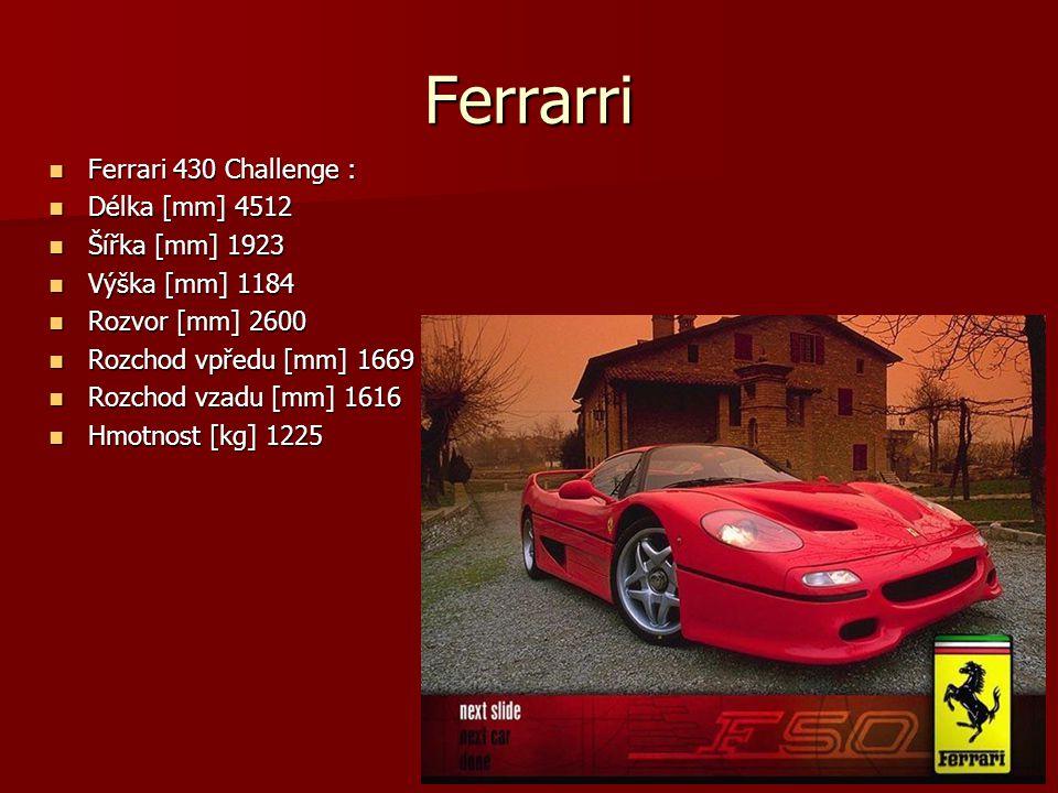 Ferrarri Ferrari 430 Challenge : Ferrari 430 Challenge : Délka [mm] 4512 Délka [mm] 4512 Šířka [mm] 1923 Šířka [mm] 1923 Výška [mm] 1184 Výška [mm] 11