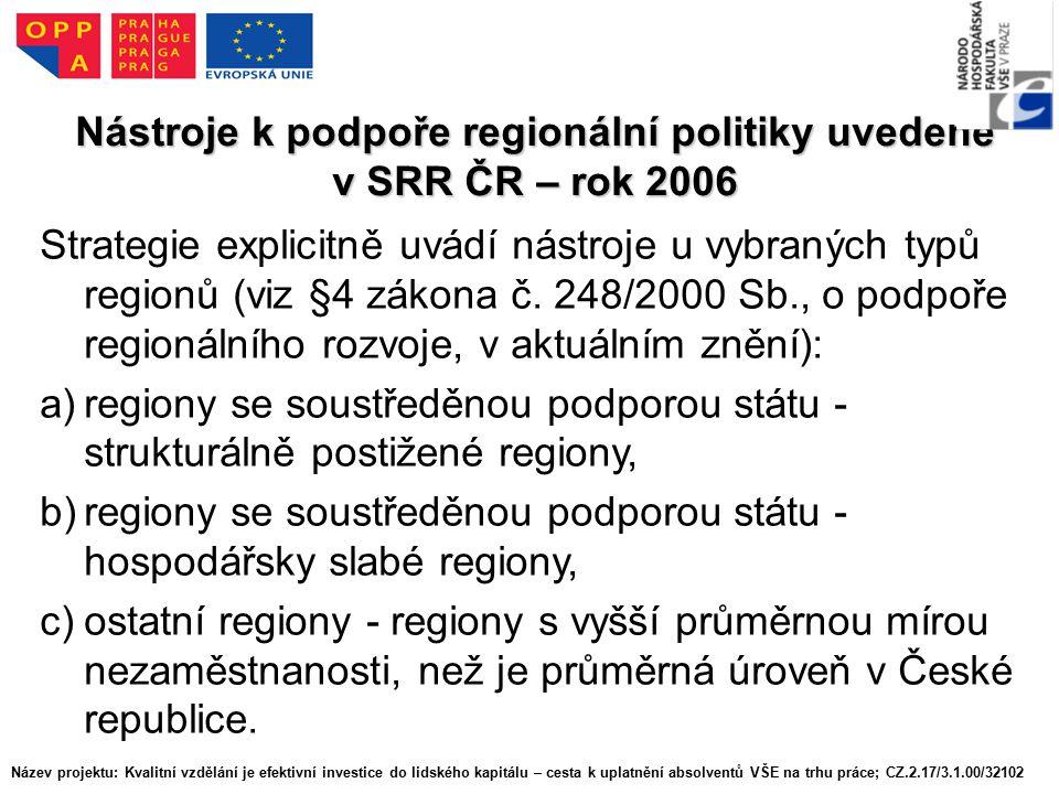 Nástroje k podpoře regionální politiky uvedené v SRR ČR – rok 2006 Strategie explicitně uvádí nástroje u vybraných typů regionů (viz §4 zákona č.