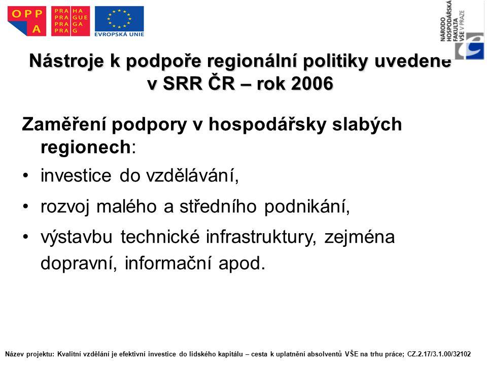 Nástroje k podpoře regionální politiky uvedené v SRR ČR – rok 2006 Zaměření podpory v hospodářsky slabých regionech: investice do vzdělávání, rozvoj malého a středního podnikání, výstavbu technické infrastruktury, zejména dopravní, informační apod.