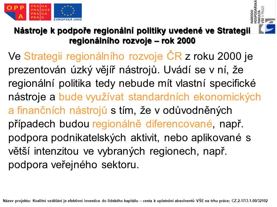 Nástroje k podpoře regionální politiky uvedené ve Strategii regionálního rozvoje – rok 2000 Ve Strategii regionálního rozvoje ČR z roku 2000 je prezentován úzký vějíř nástrojů.