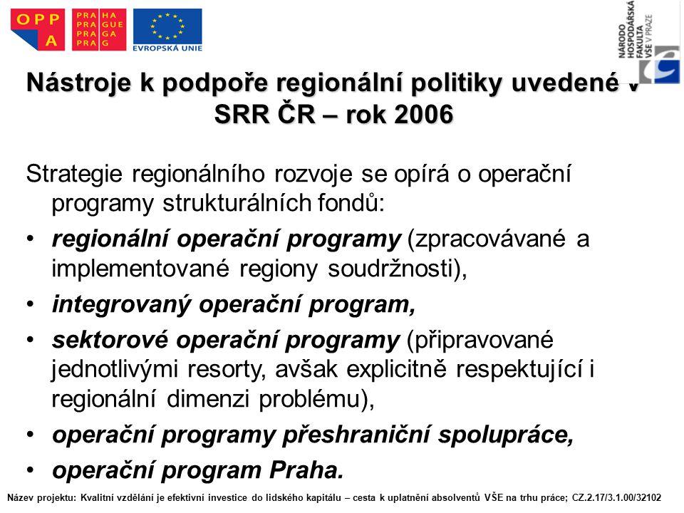 Nástroje k podpoře regionální politiky uvedené v SRR ČR – rok 2006 Strategie regionálního rozvoje se opírá o operační programy strukturálních fondů: regionální operační programy (zpracovávané a implementované regiony soudržnosti), integrovaný operační program, sektorové operační programy (připravované jednotlivými resorty, avšak explicitně respektující i regionální dimenzi problému), operační programy přeshraniční spolupráce, operační program Praha.