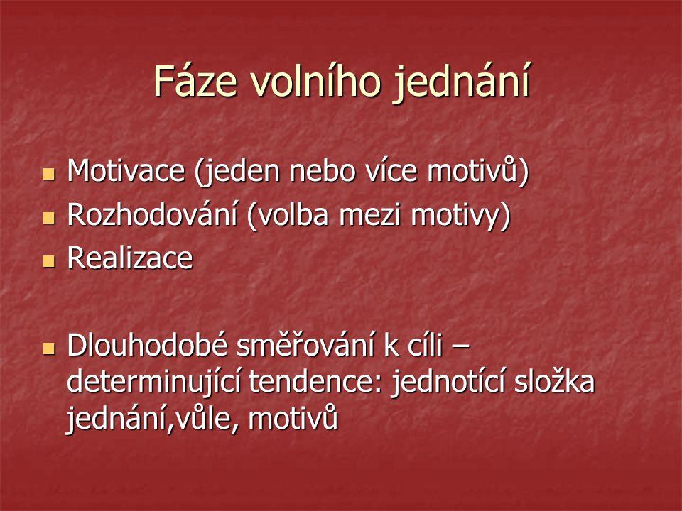 Fáze volního jednání Motivace (jeden nebo více motivů) Motivace (jeden nebo více motivů) Rozhodování (volba mezi motivy) Rozhodování (volba mezi motiv