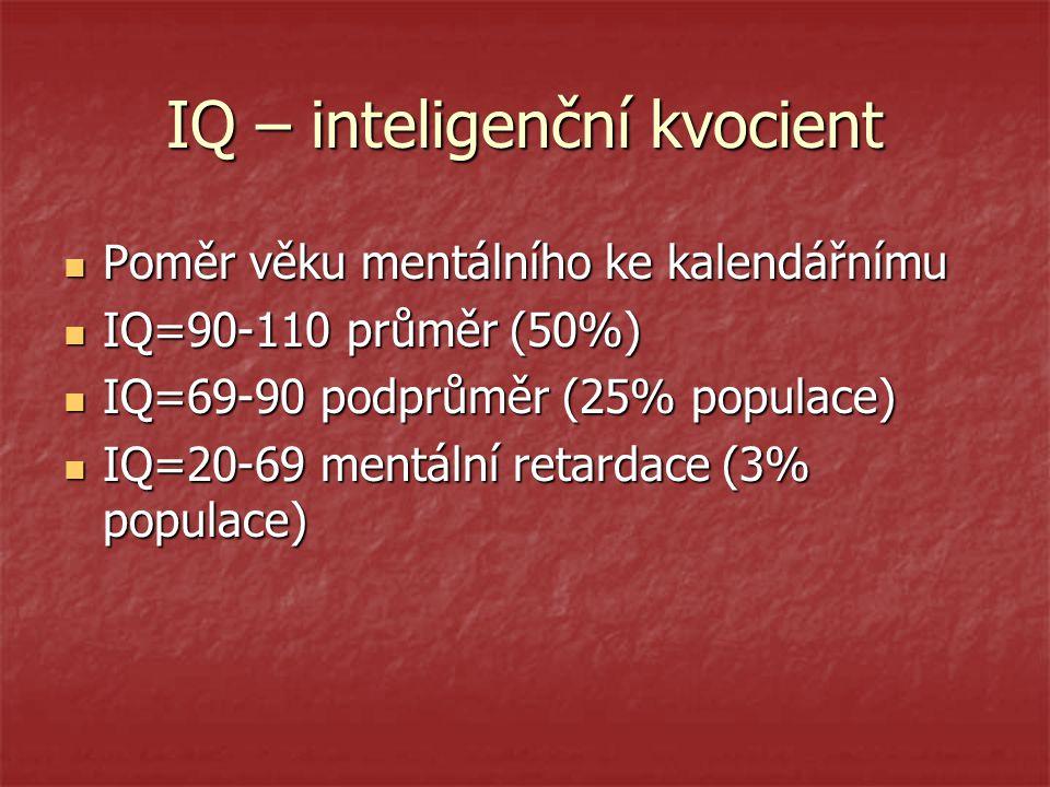 IQ – inteligenční kvocient Poměr věku mentálního ke kalendářnímu Poměr věku mentálního ke kalendářnímu IQ=90-110 průměr (50%) IQ=90-110 průměr (50%) I