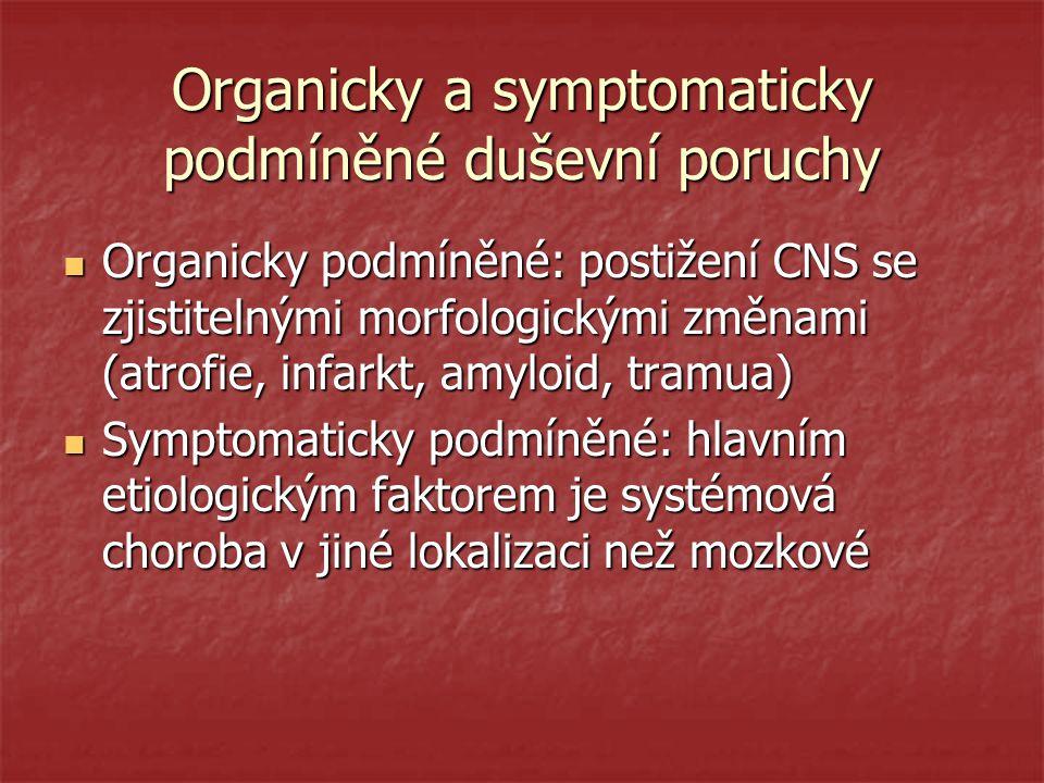 Organicky a symptomaticky podmíněné duševní poruchy Organicky podmíněné: postižení CNS se zjistitelnými morfologickými změnami (atrofie, infarkt, amyl