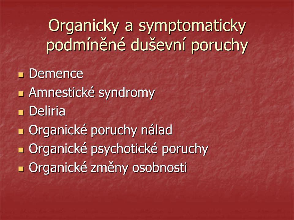 Organicky a symptomaticky podmíněné duševní poruchy Demence Demence Amnestické syndromy Amnestické syndromy Deliria Deliria Organické poruchy nálad Or