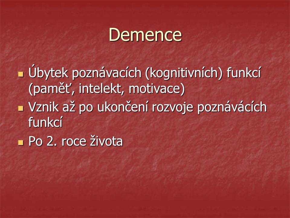 Demence Úbytek poznávacích (kognitivních) funkcí (paměť, intelekt, motivace) Úbytek poznávacích (kognitivních) funkcí (paměť, intelekt, motivace) Vzni