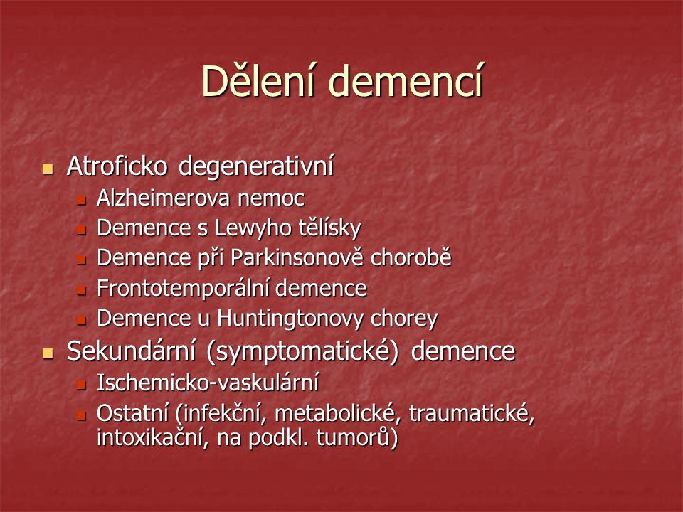 Dělení demencí Atroficko degenerativní Atroficko degenerativní Alzheimerova nemoc Alzheimerova nemoc Demence s Lewyho tělísky Demence s Lewyho tělísky