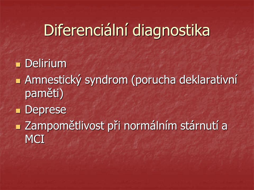 Diferenciální diagnostika Delirium Delirium Amnestický syndrom (porucha deklarativní paměti) Amnestický syndrom (porucha deklarativní paměti) Deprese