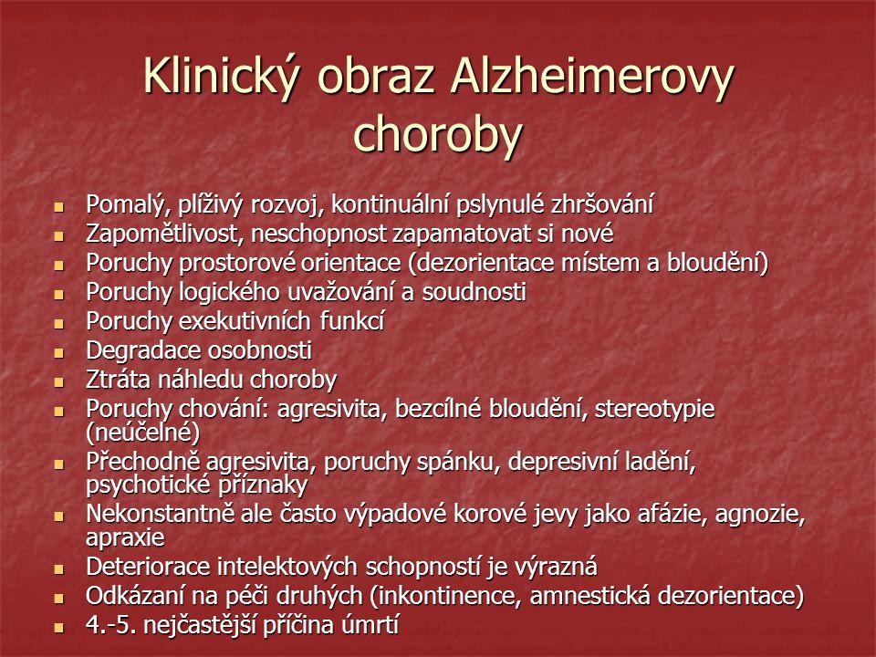 Klinický obraz Alzheimerovy choroby Pomalý, plíživý rozvoj, kontinuální pslynulé zhršování Pomalý, plíživý rozvoj, kontinuální pslynulé zhršování Zapo
