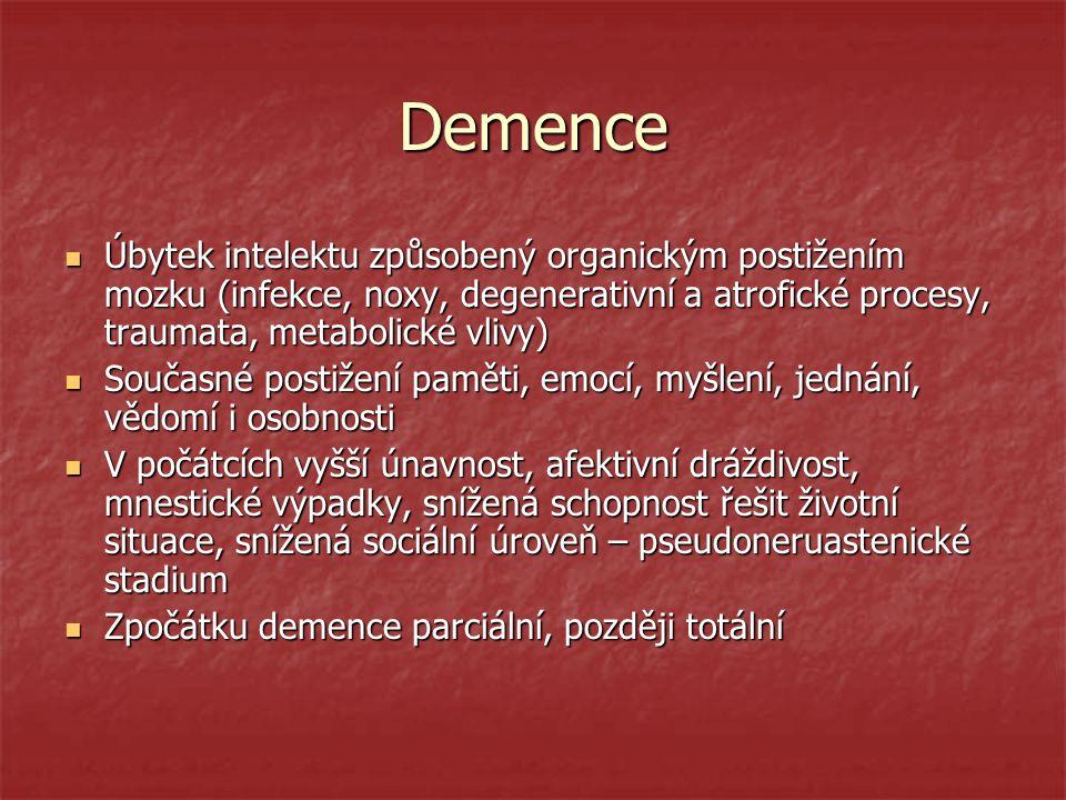 Demence Úbytek intelektu způsobený organickým postižením mozku (infekce, noxy, degenerativní a atrofické procesy, traumata, metabolické vlivy) Úbytek