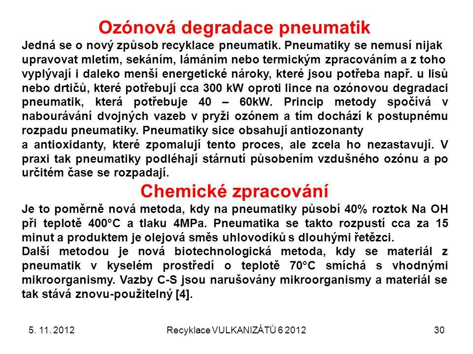 5. 11. 2012Recyklace VULKANIZÁTŮ 6 201230 Ozónová degradace pneumatik Jedná se o nový způsob recyklace pneumatik. Pneumatiky se nemusí nijak upravovat