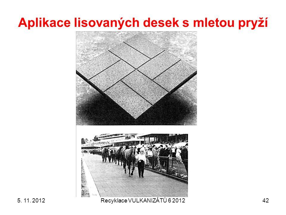 Aplikace lisovaných desek s mletou pryží 5. 11. 2012Recyklace VULKANIZÁTŮ 6 201242