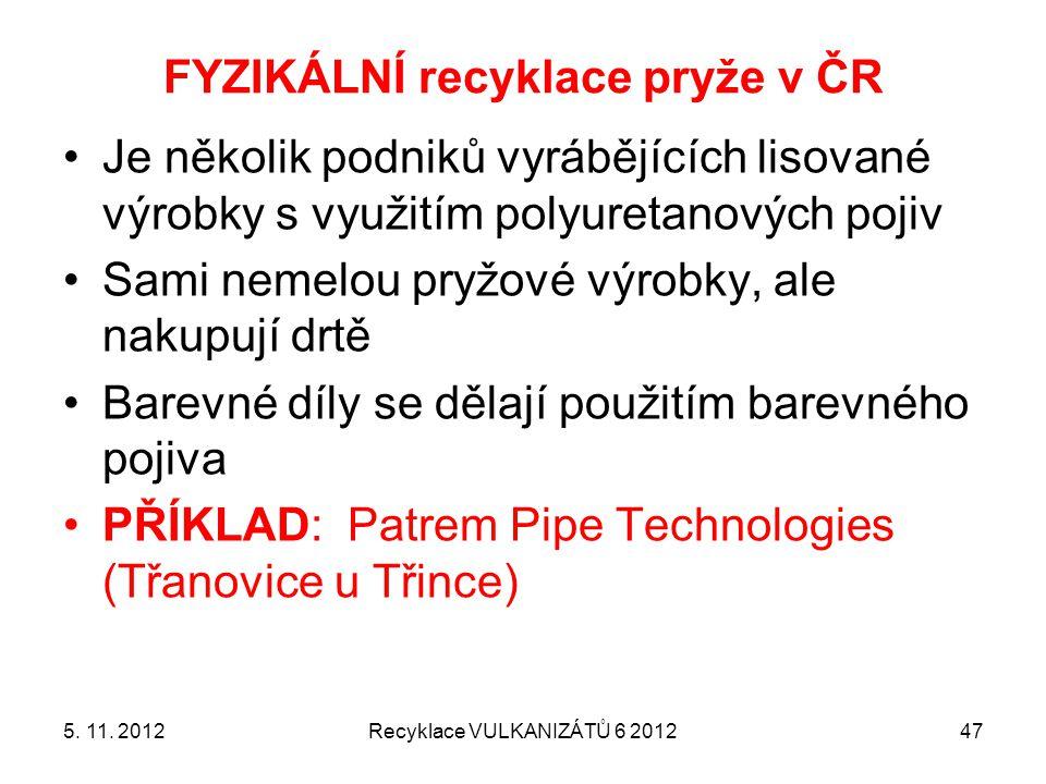 FYZIKÁLNÍ recyklace pryže v ČR Recyklace VULKANIZÁTŮ 6 2012475. 11. 2012 Je několik podniků vyrábějících lisované výrobky s využitím polyuretanových p