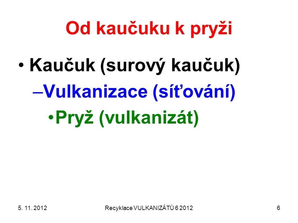 Od kaučuku k pryži Kaučuk (surový kaučuk) –Vulkanizace (síťování) Pryž (vulkanizát) 5. 11. 2012Recyklace VULKANIZÁTŮ 6 20126