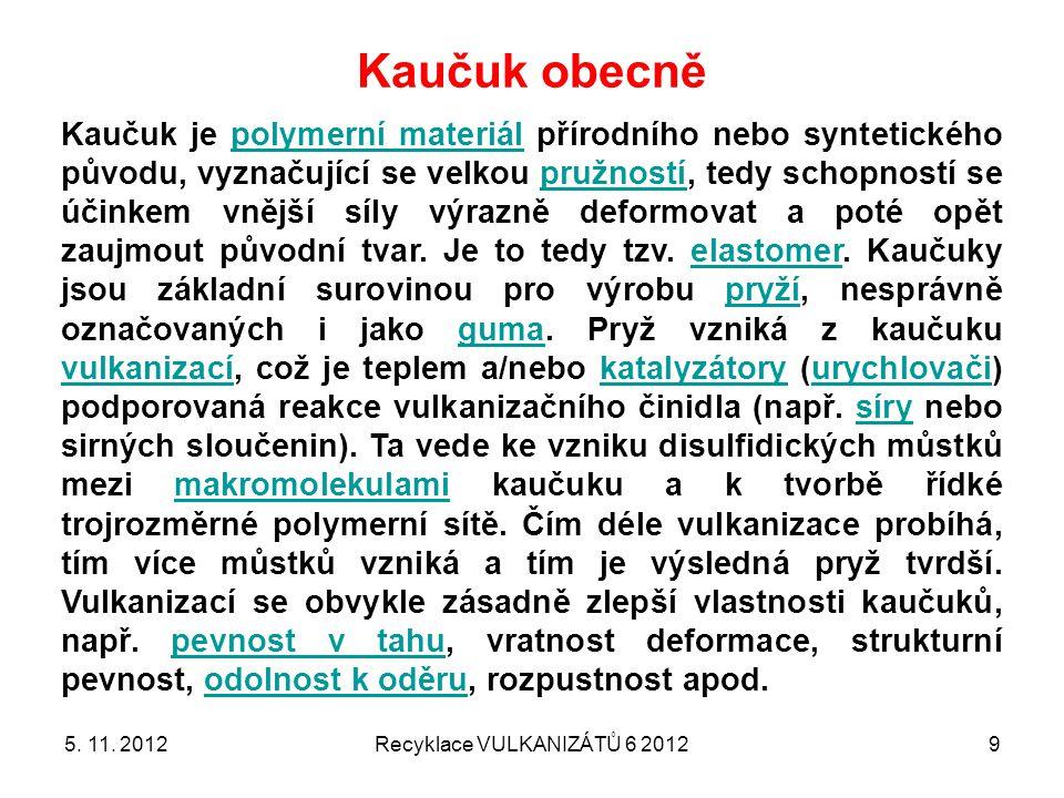 DEVULKANIZACE částic namleté pryže (vulkanizované sírou) 5. 11. 2012Recyklace VULKANIZÁTŮ 6 201240