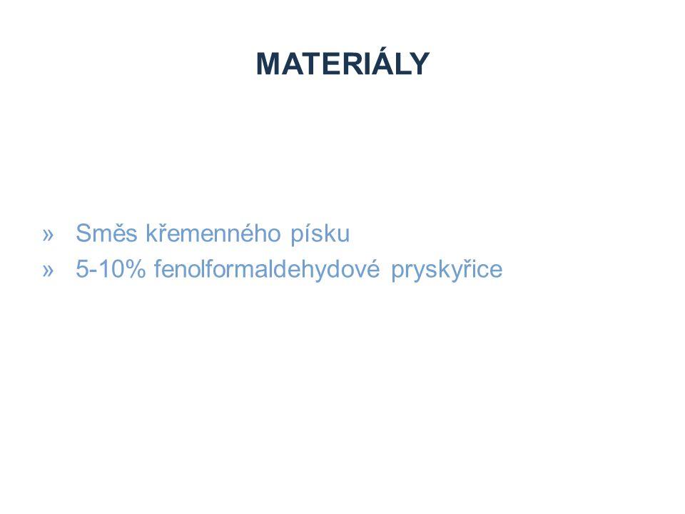 MATERIÁLY »Směs křemenného písku »5-10% fenolformaldehydové pryskyřice