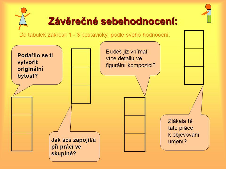 Závěrečné sebehodnocení: Do tabulek zakresli 1 - 3 postavičky, podle svého hodnocení.