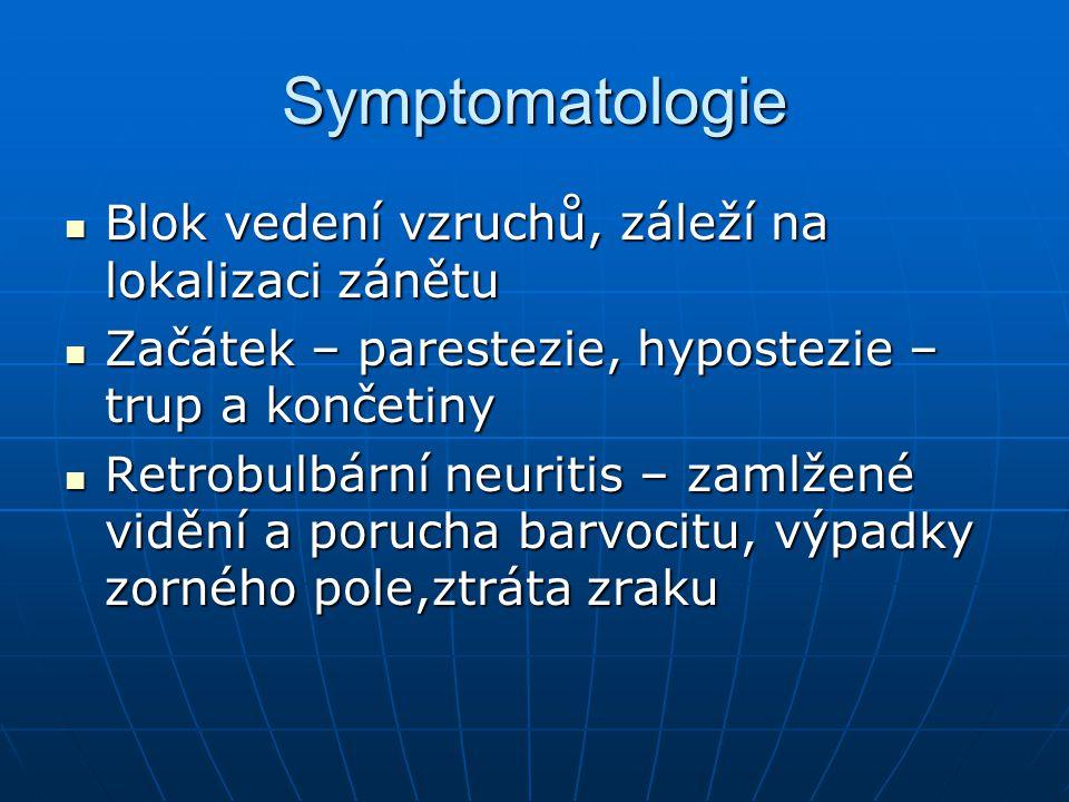 Symptomatologie Blok vedení vzruchů, záleží na lokalizaci zánětu Blok vedení vzruchů, záleží na lokalizaci zánětu Začátek – parestezie, hypostezie – trup a končetiny Začátek – parestezie, hypostezie – trup a končetiny Retrobulbární neuritis – zamlžené vidění a porucha barvocitu, výpadky zorného pole,ztráta zraku Retrobulbární neuritis – zamlžené vidění a porucha barvocitu, výpadky zorného pole,ztráta zraku