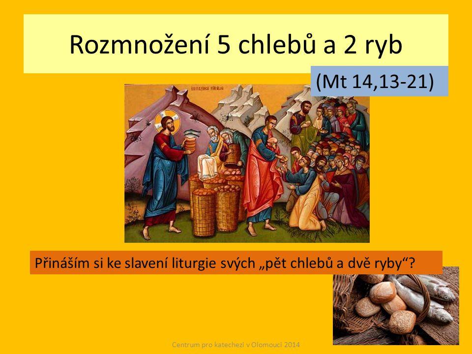 """Rozmnožení 5 chlebů a 2 ryb Centrum pro katechezi v Olomouci 2014 (Mt 14,13-21) Přináším si ke slavení liturgie svých """"pět chlebů a dvě ryby"""