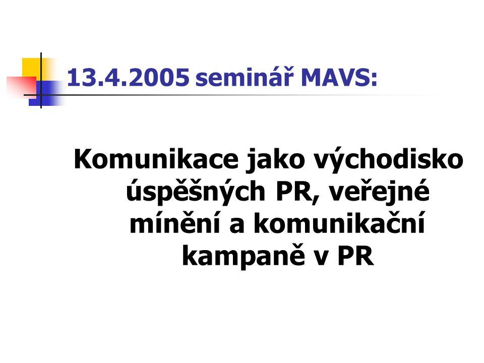 13.4.2005 seminář MAVS: Komunikace jako východisko úspěšných PR, veřejné mínění a komunikační kampaně v PR