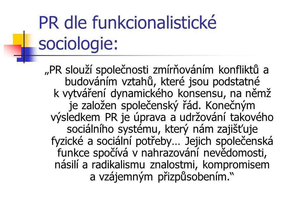 """PR dle funkcionalistické sociologie: """"PR slouží společnosti zmírňováním konfliktů a budováním vztahů, které jsou podstatné k vytváření dynamického kon"""