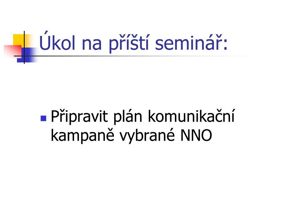 Úkol na příští seminář: Připravit plán komunikační kampaně vybrané NNO