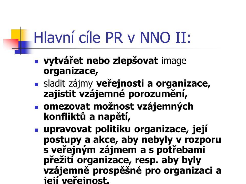Hlavní cíle PR v NNO II: vytvářet nebo zlepšovat image organizace, sladit zájmy veřejnosti a organizace, zajistit vzájemné porozumění, omezovat možnos