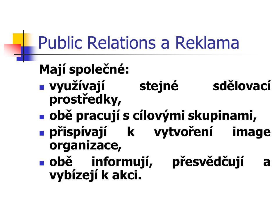 Public Relations a Reklama Mají společné: využívají stejné sdělovací prostředky, obě pracují s cílovými skupinami, přispívají k vytvoření image organi