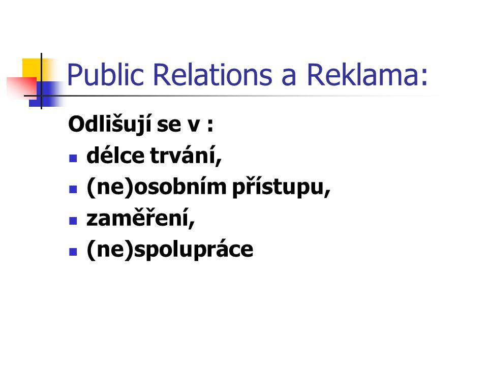 Public Relations a Reklama: Odlišují se v : délce trvání, (ne)osobním přístupu, zaměření, (ne)spolupráce