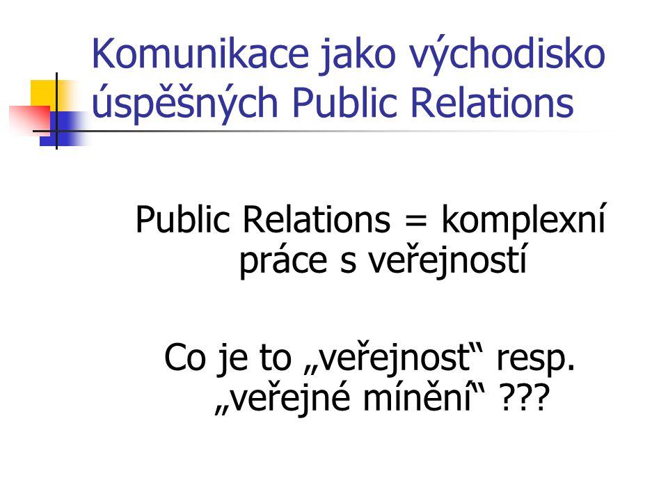 Veřejnost jsou ty skupiny, s nimiž potřebuje naše organizace komunikovat, protože s nimi potřebuje být v dobrých vztazích, mít jejich podporu, získávat jejich peníze, starat se o ně, informovat je, atd.