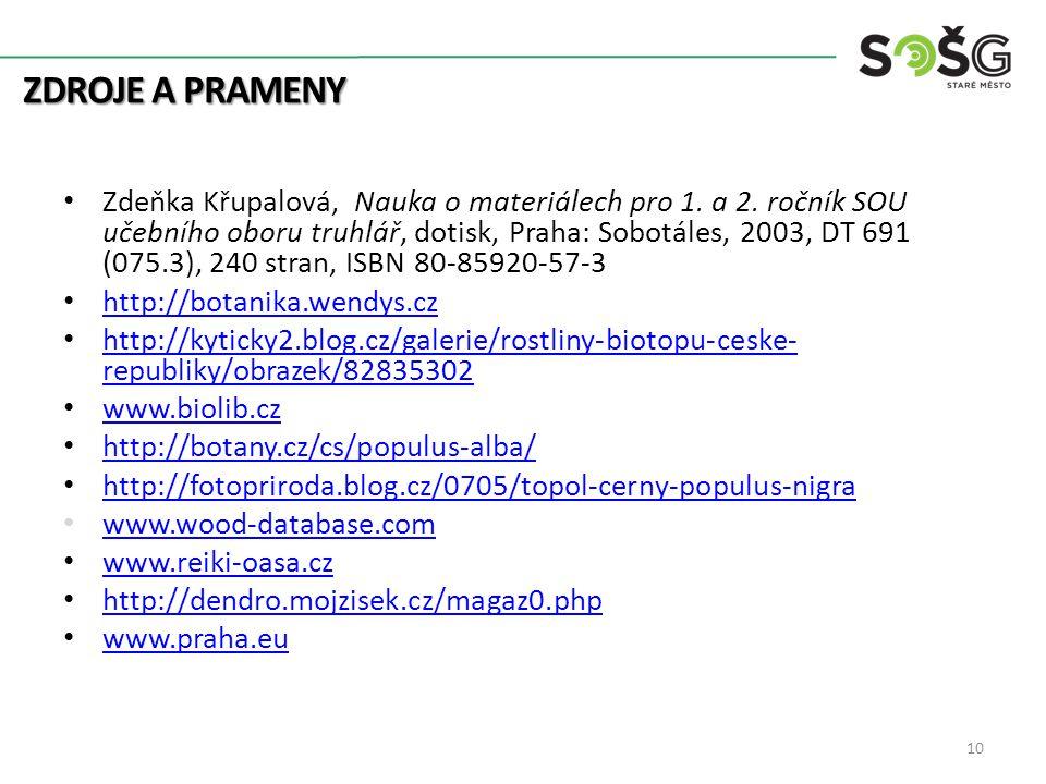 ZDROJE A PRAMENY Zdeňka Křupalová, Nauka o materiálech pro 1.