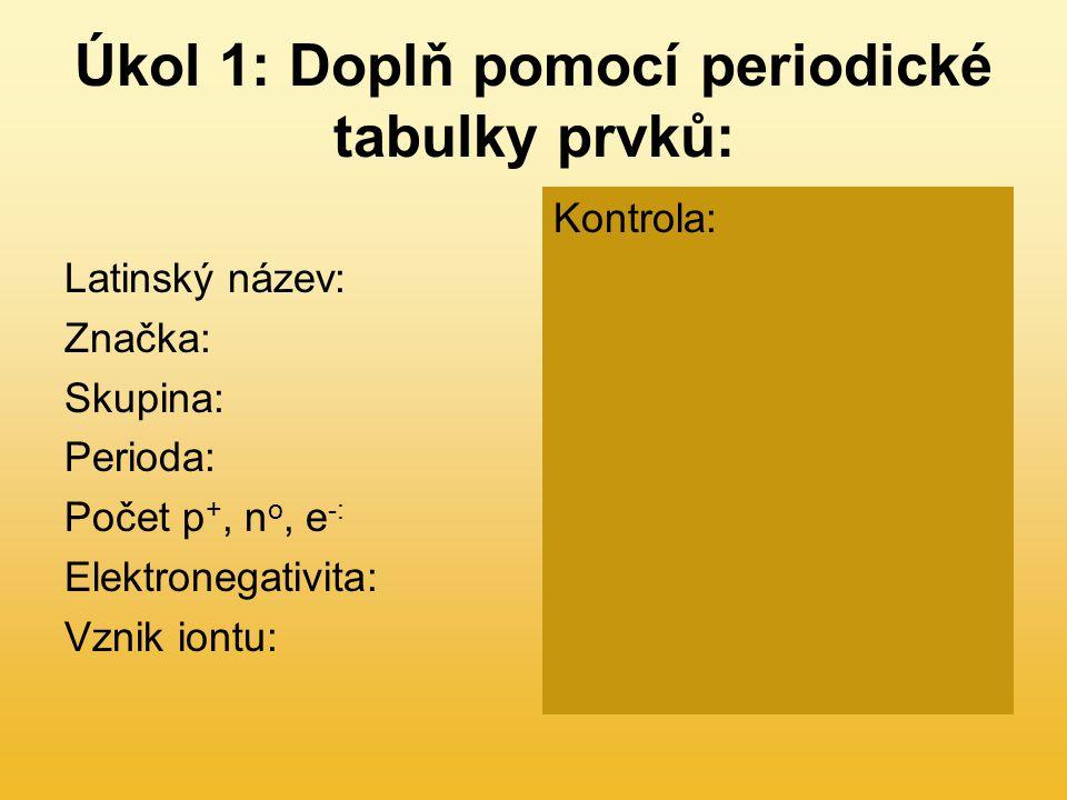 Úkol 1: Doplň pomocí periodické tabulky prvků: Latinský název: Značka: Skupina: Perioda: Počet p +, n o, e -: Elektronegativita: Vznik iontu: Kontrola