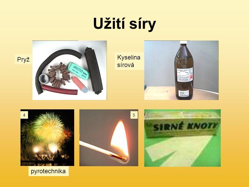 Užití síry Pryž Kyselina sírová pyrotechnika 45