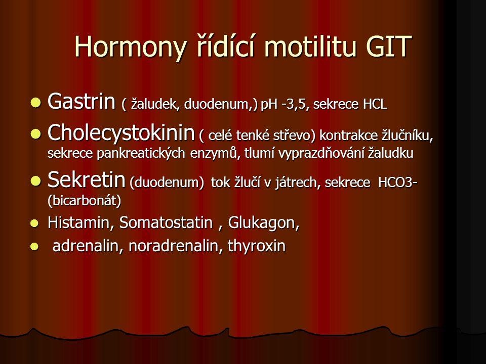 Hormony řídící motilitu GIT Gastrin ( žaludek, duodenum,) pH -3,5, sekrece HCL Gastrin ( žaludek, duodenum,) pH -3,5, sekrece HCL Cholecystokinin ( ce