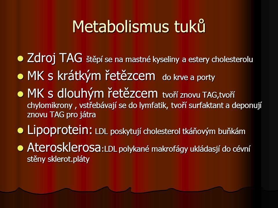 Metabolismus tuků Zdroj TAG štěpí se na mastné kyseliny a estery cholesterolu Zdroj TAG štěpí se na mastné kyseliny a estery cholesterolu MK s krátkým