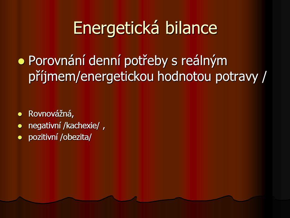 Energetická bilance Porovnání denní potřeby s reálným příjmem/energetickou hodnotou potravy / Porovnání denní potřeby s reálným příjmem/energetickou h