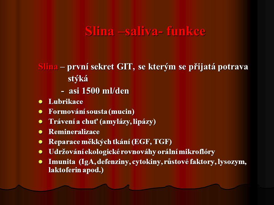 Slina –saliva- funkce Slina – první sekret GIT, se kterým se přijatá potrava stýká stýká - asi 1500 ml/den - asi 1500 ml/den Lubrikace Lubrikace Formo