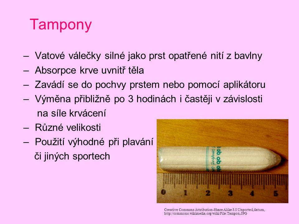Tampony – Vatové válečky silné jako prst opatřené nití z bavlny – Absorpce krve uvnitř těla – Zavádí se do pochvy prstem nebo pomocí aplikátoru – Výmě